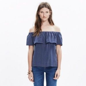 Madewell Silk off the shoulder navy blue top